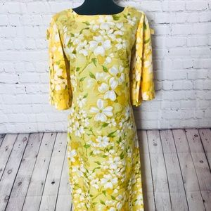 Vintage boho Yellow floral maxi dress